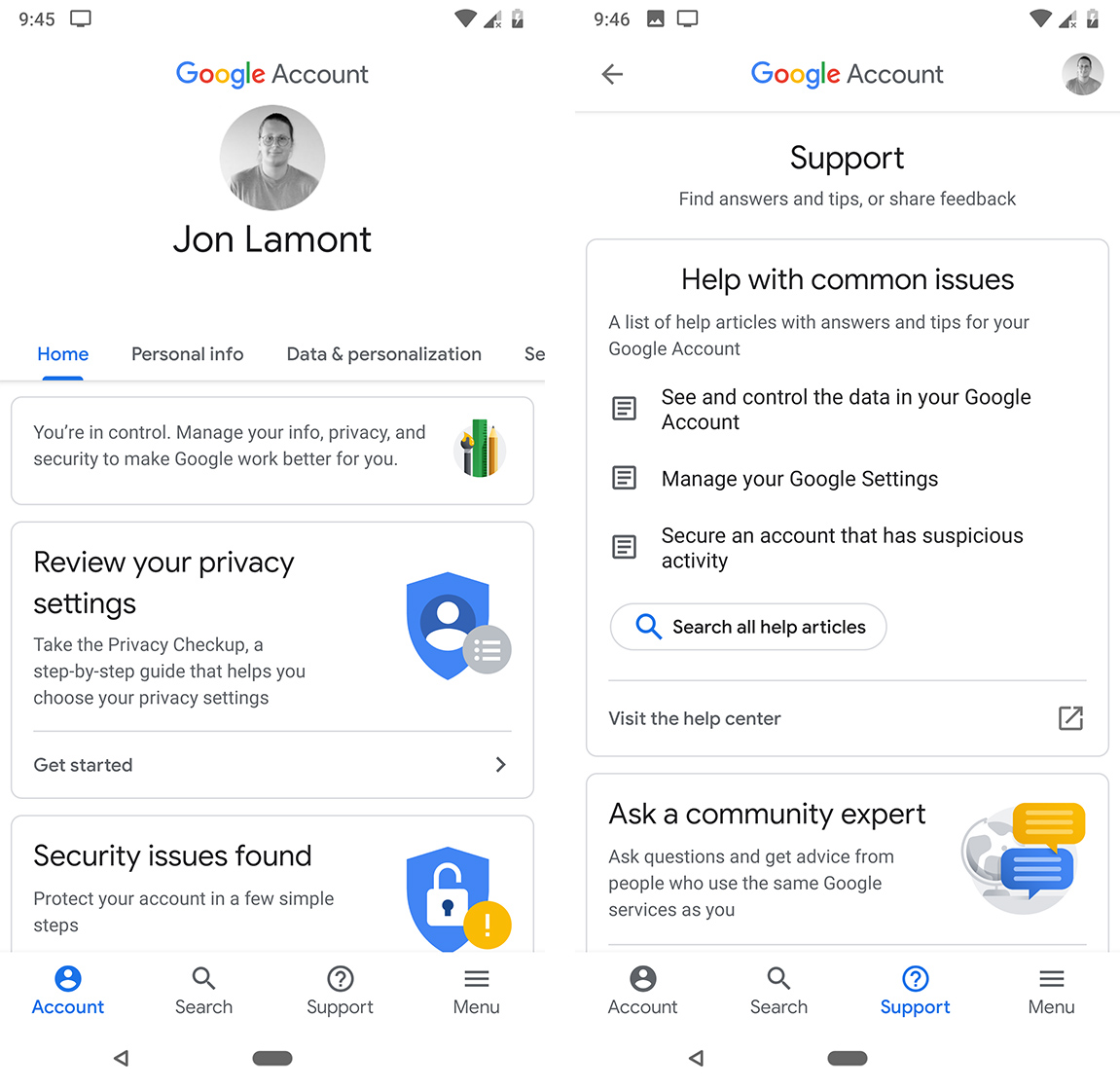 Google Account home screen and Support page
