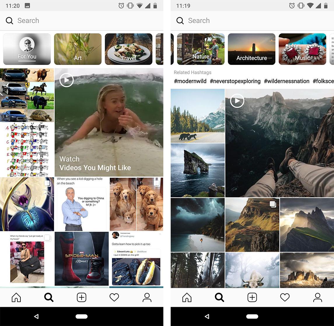 Instagram's Explore tab channels