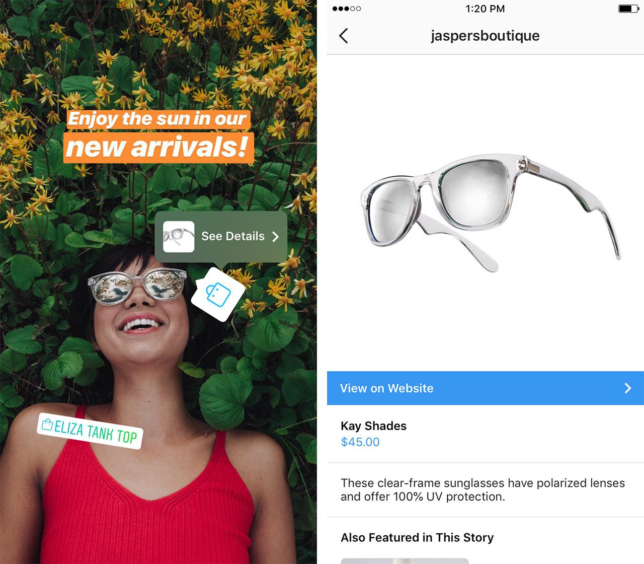 Shopping in Instagram Stories