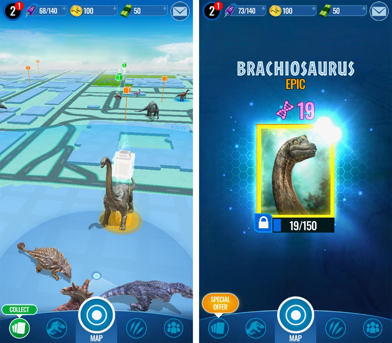 A photo of the new Epic Brachiosaurs at an Apple Store supply drop