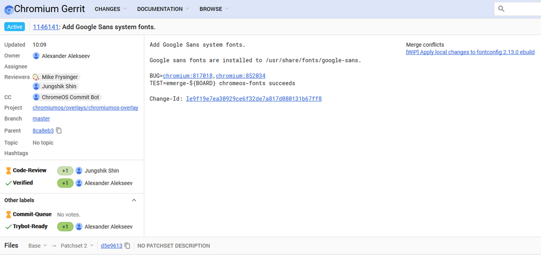 Chrome OS commit adding Google Sans