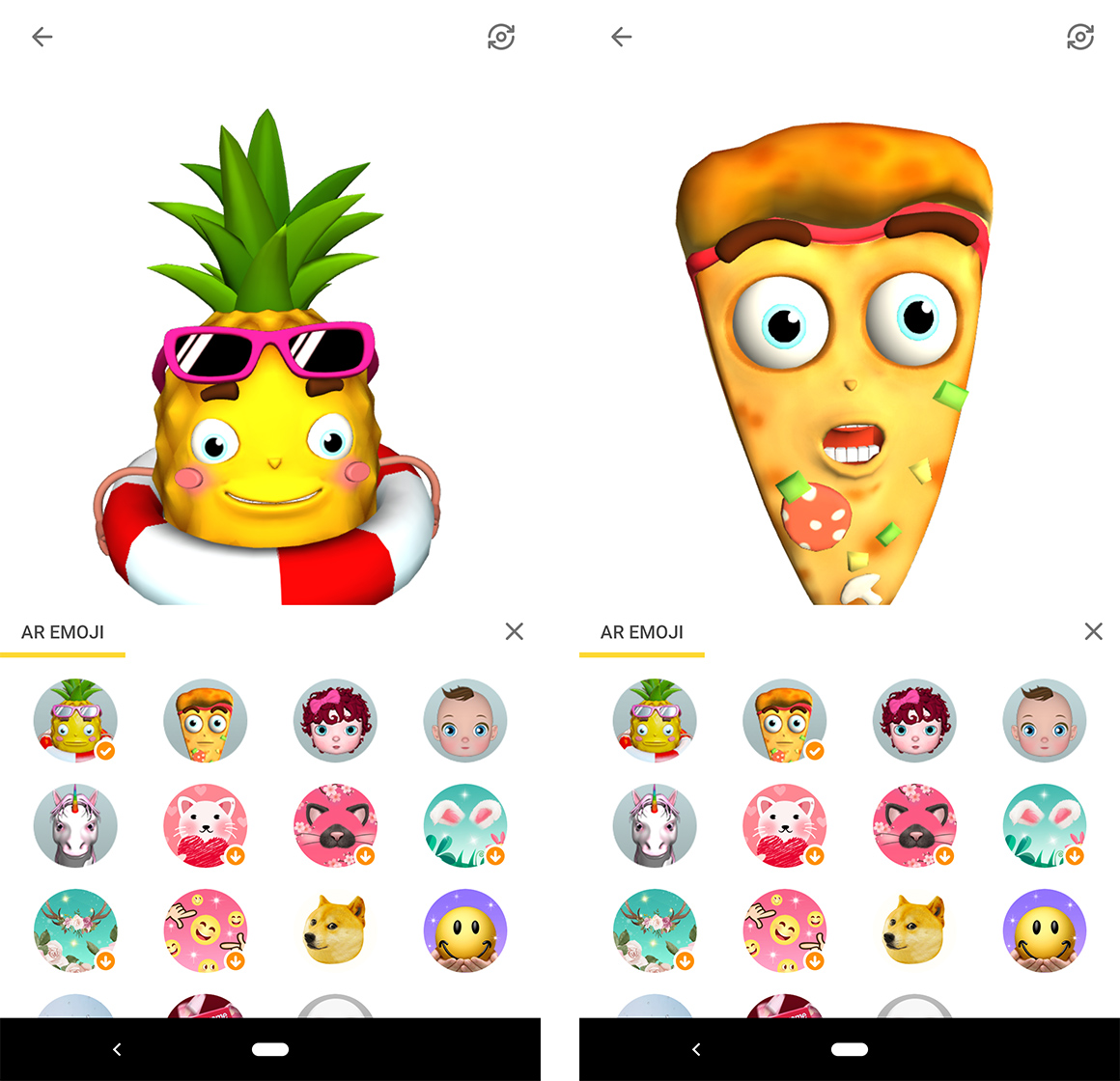 Pineapple and pizza AR emoji from Facemoji