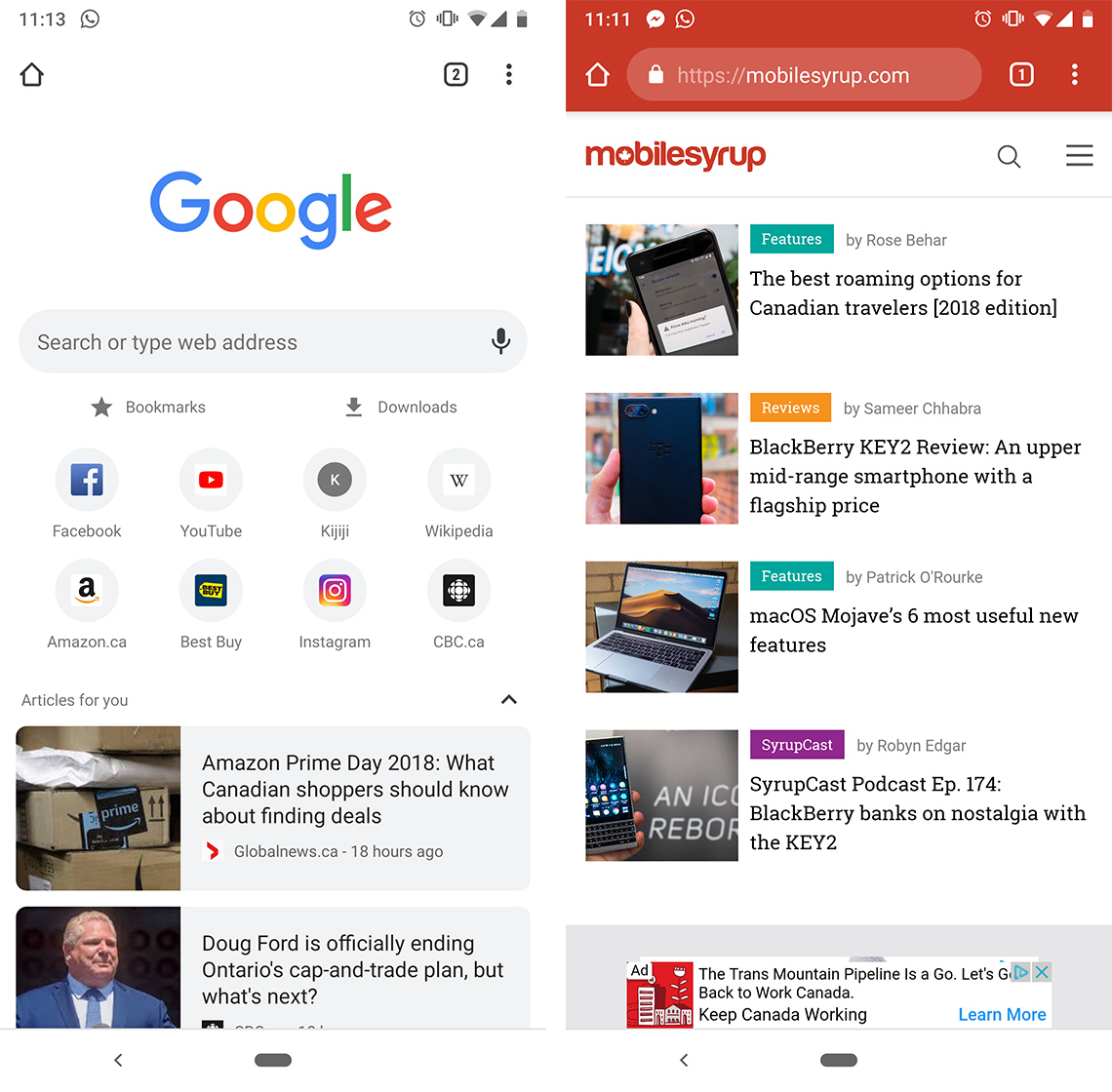 Google Chrome with home button