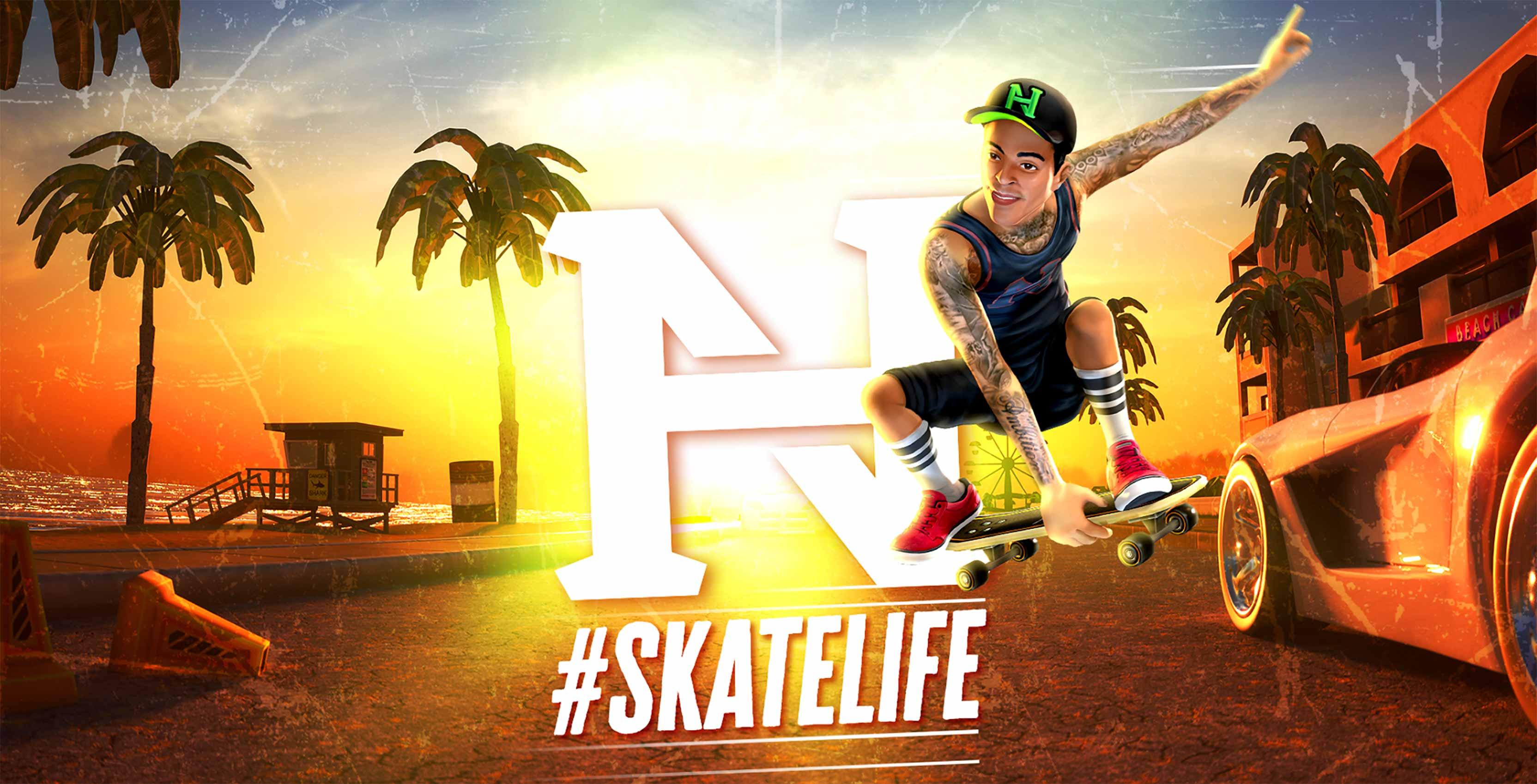 Nyjah Huston: #Skatelife mobile game header