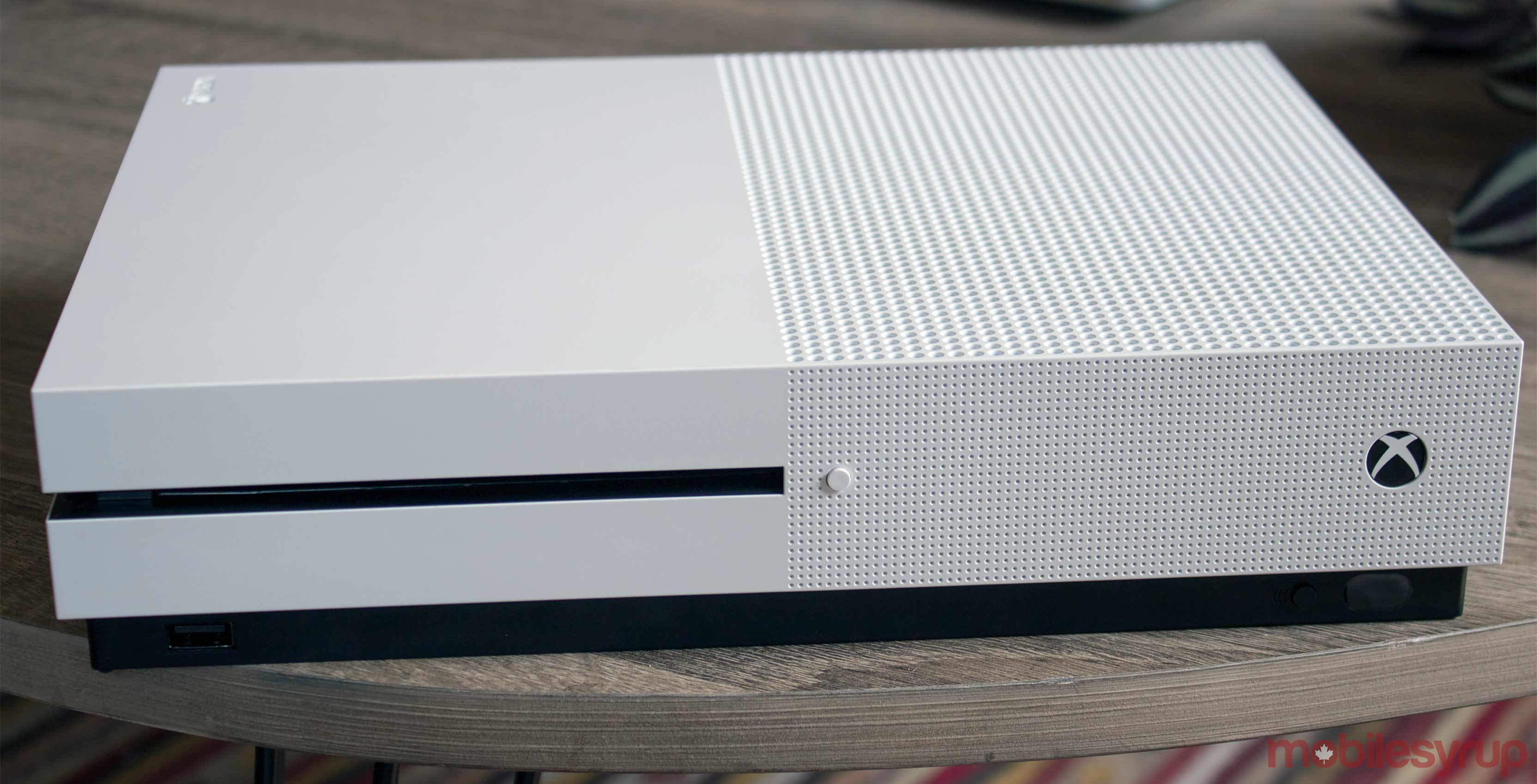 Xbox One white console front