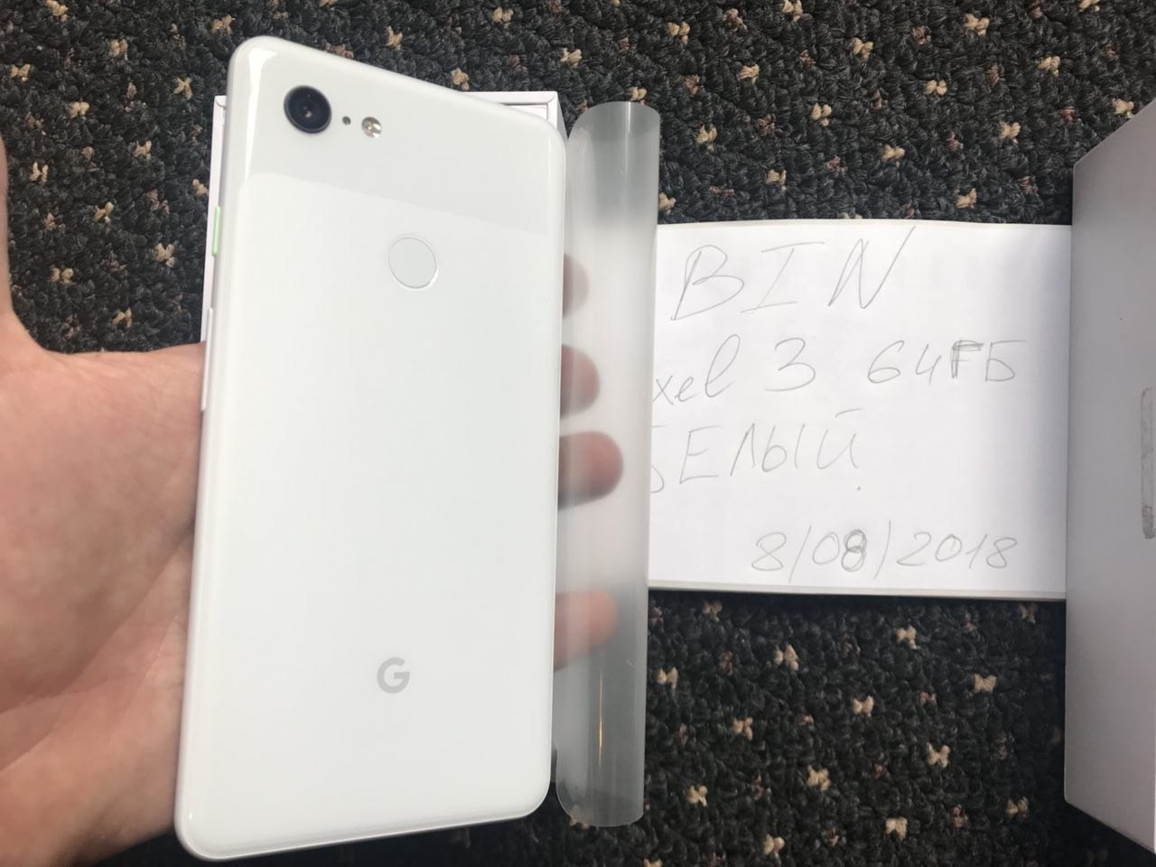 The back of the 'Clearly White' Pixel 3 XL