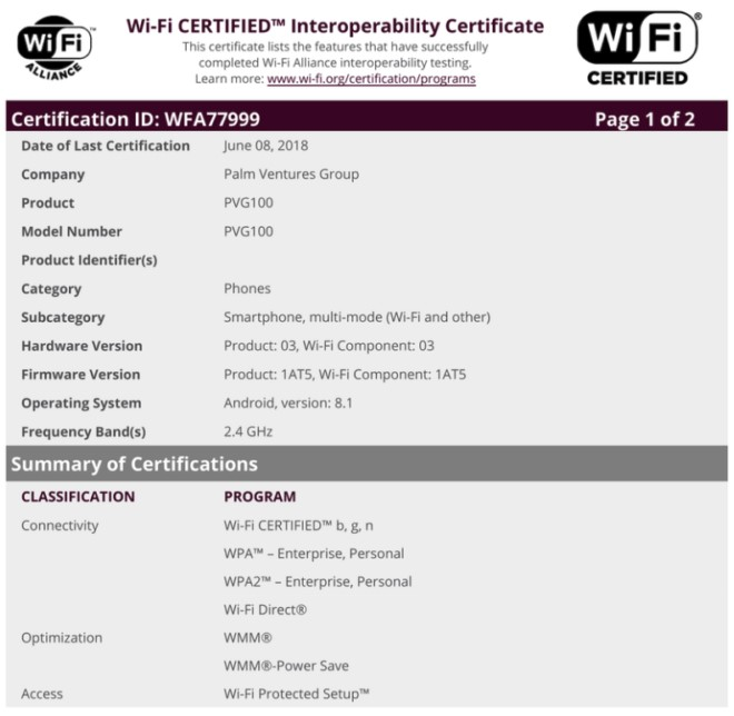 Palm PVG100 Wi-Fi certification document