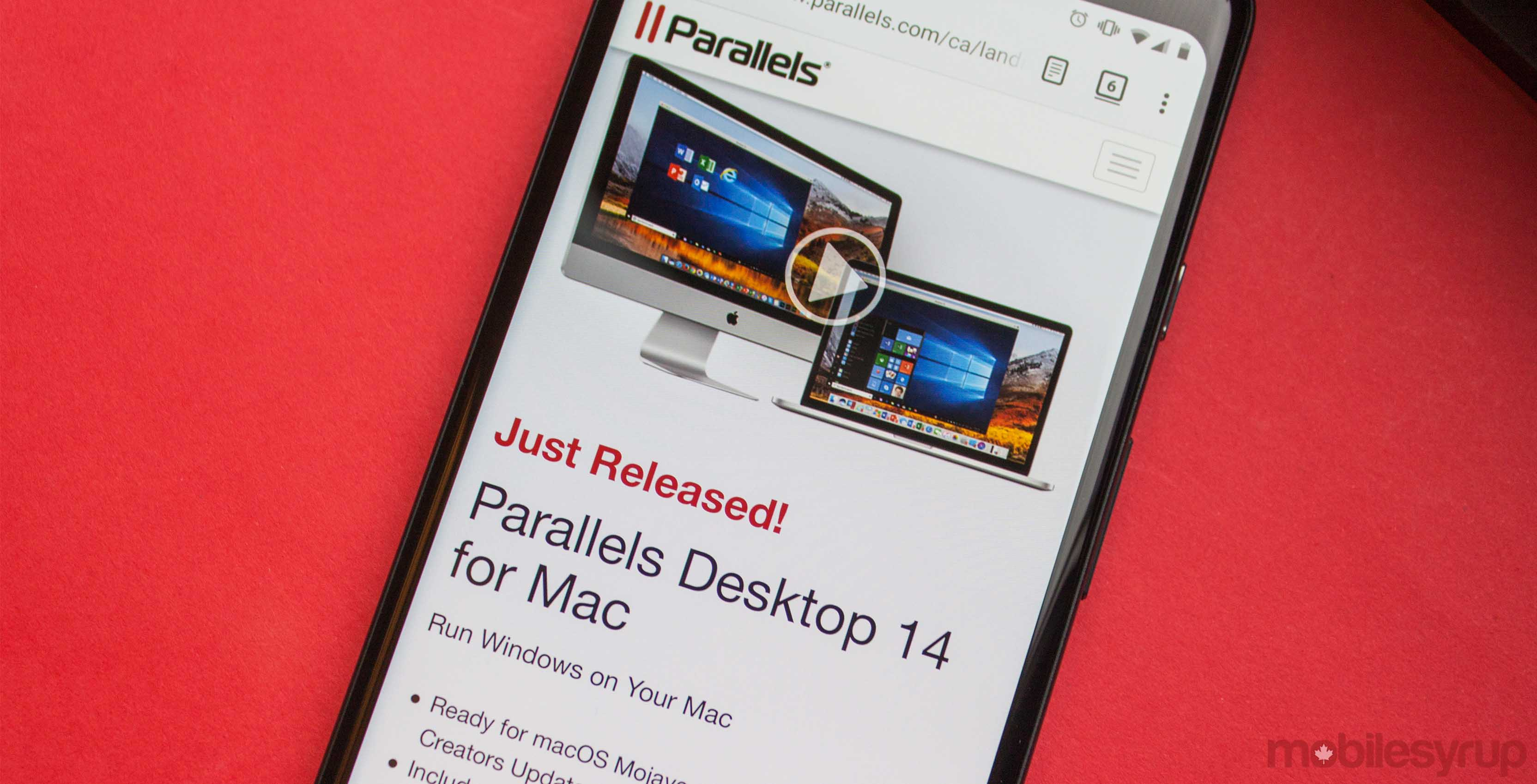 Parallels website on Android