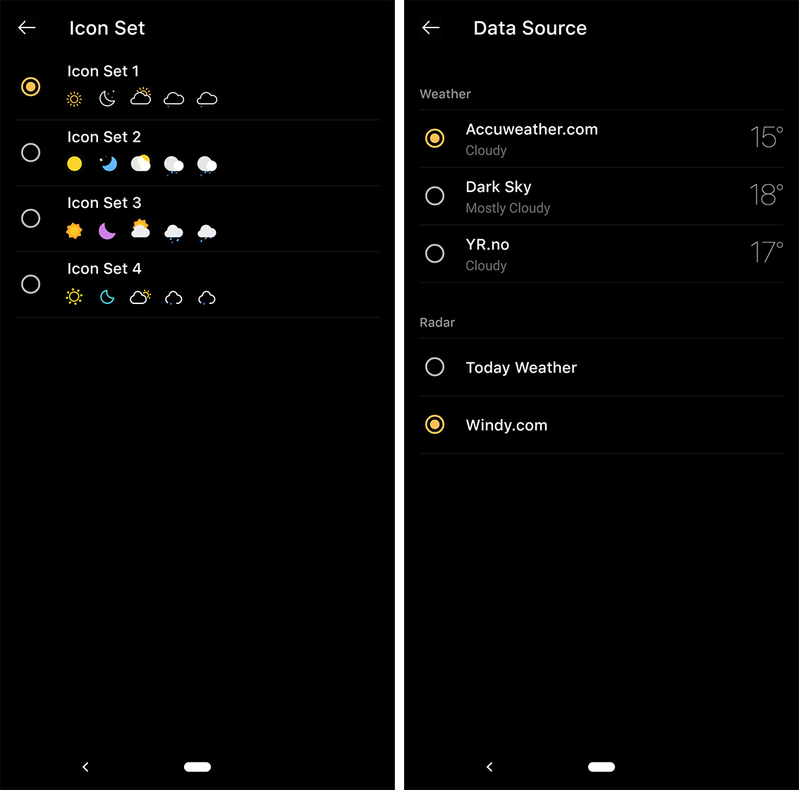 Icons and data sources