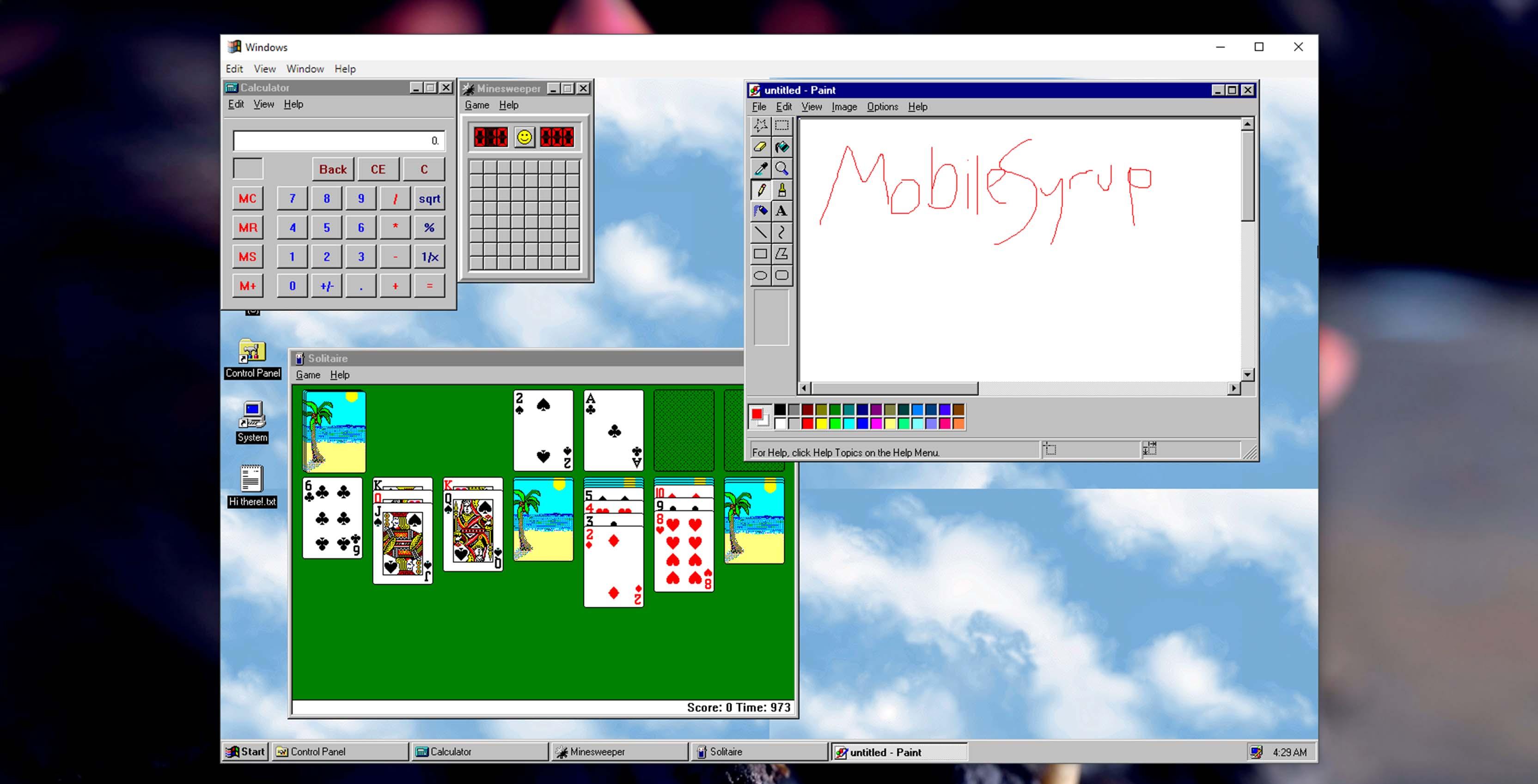 Windows 95 application