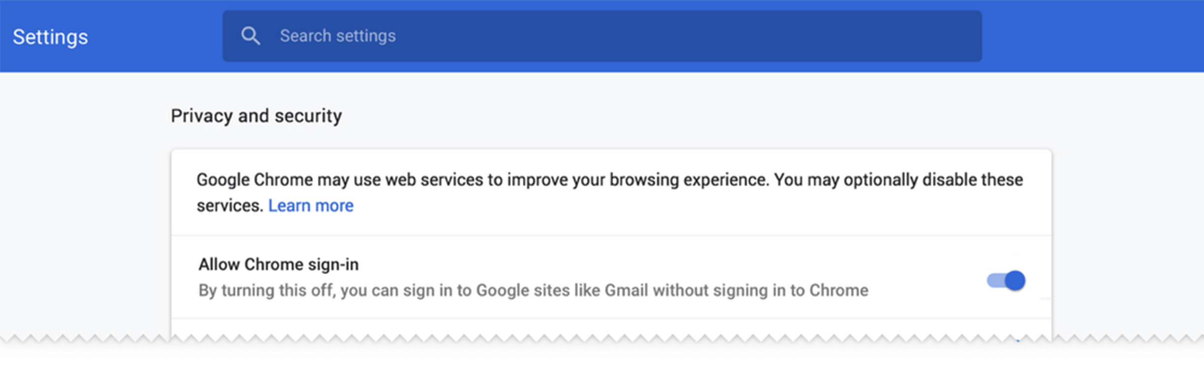 Sign-in settings in Chrome