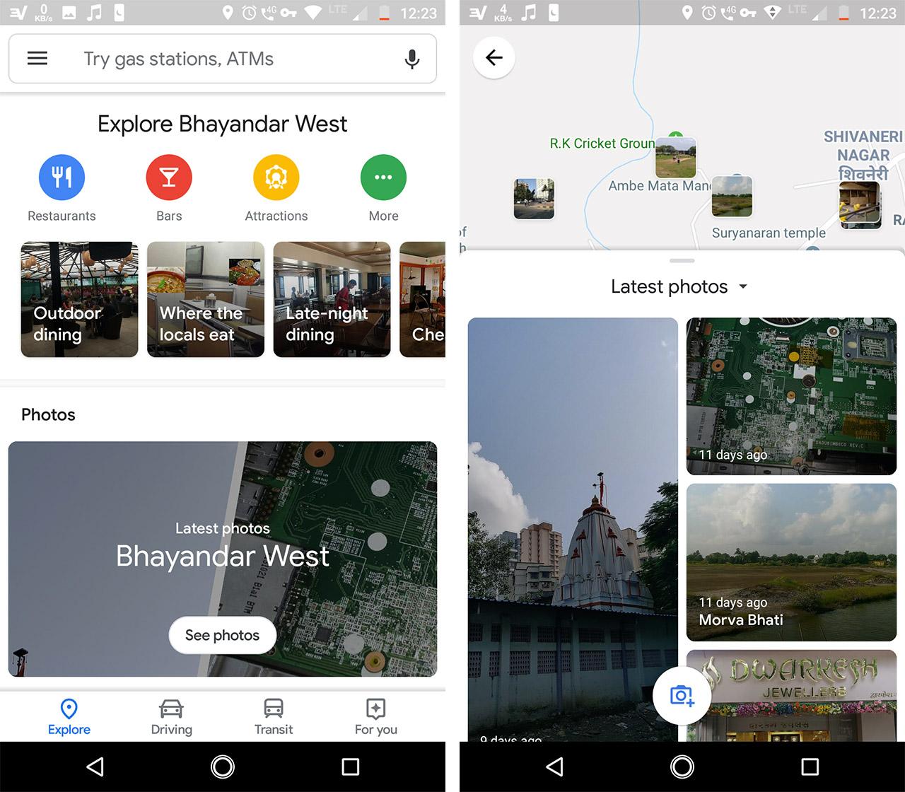 Google Maps Photos section