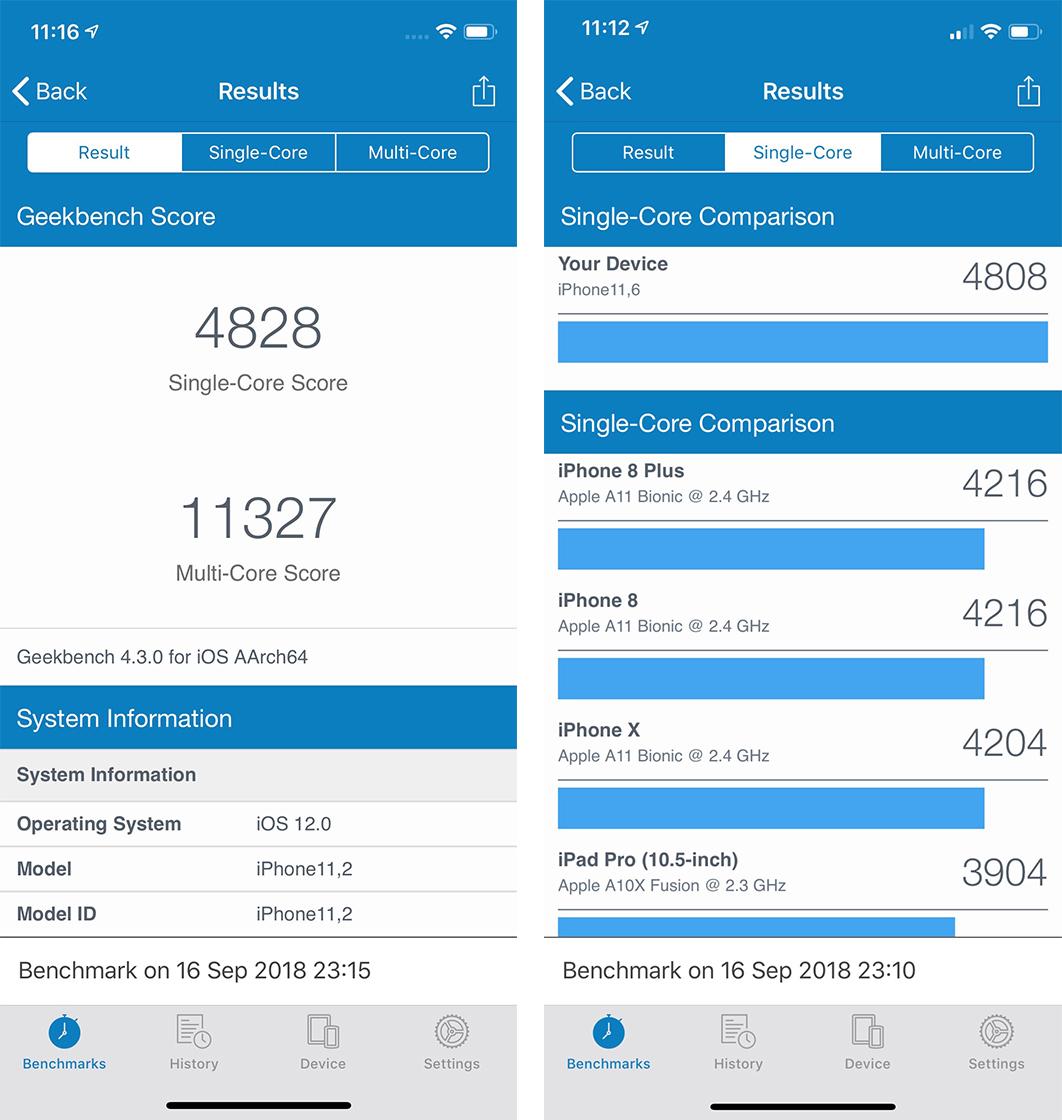 iPhone XS benchmark
