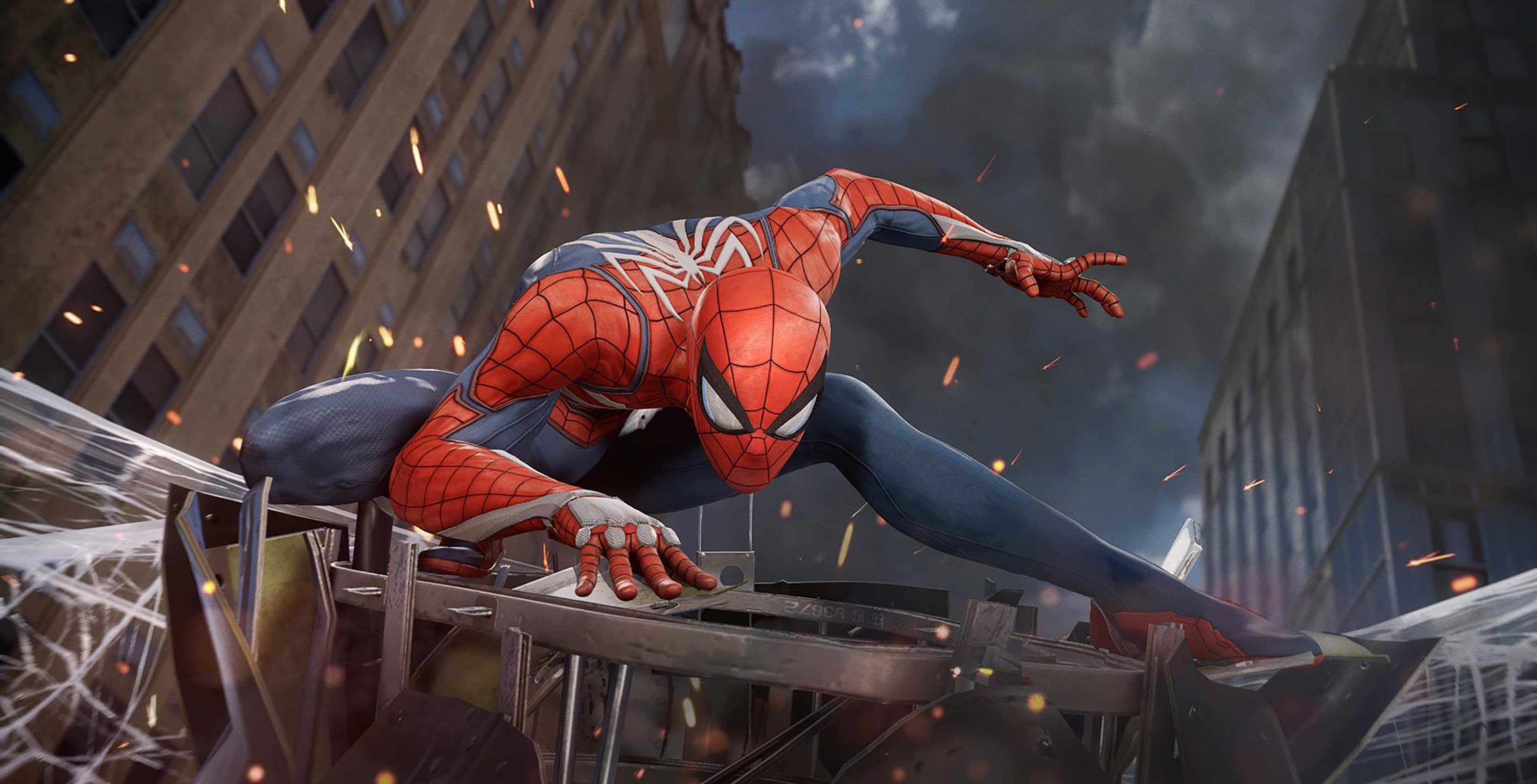 Spider-Man on webbing