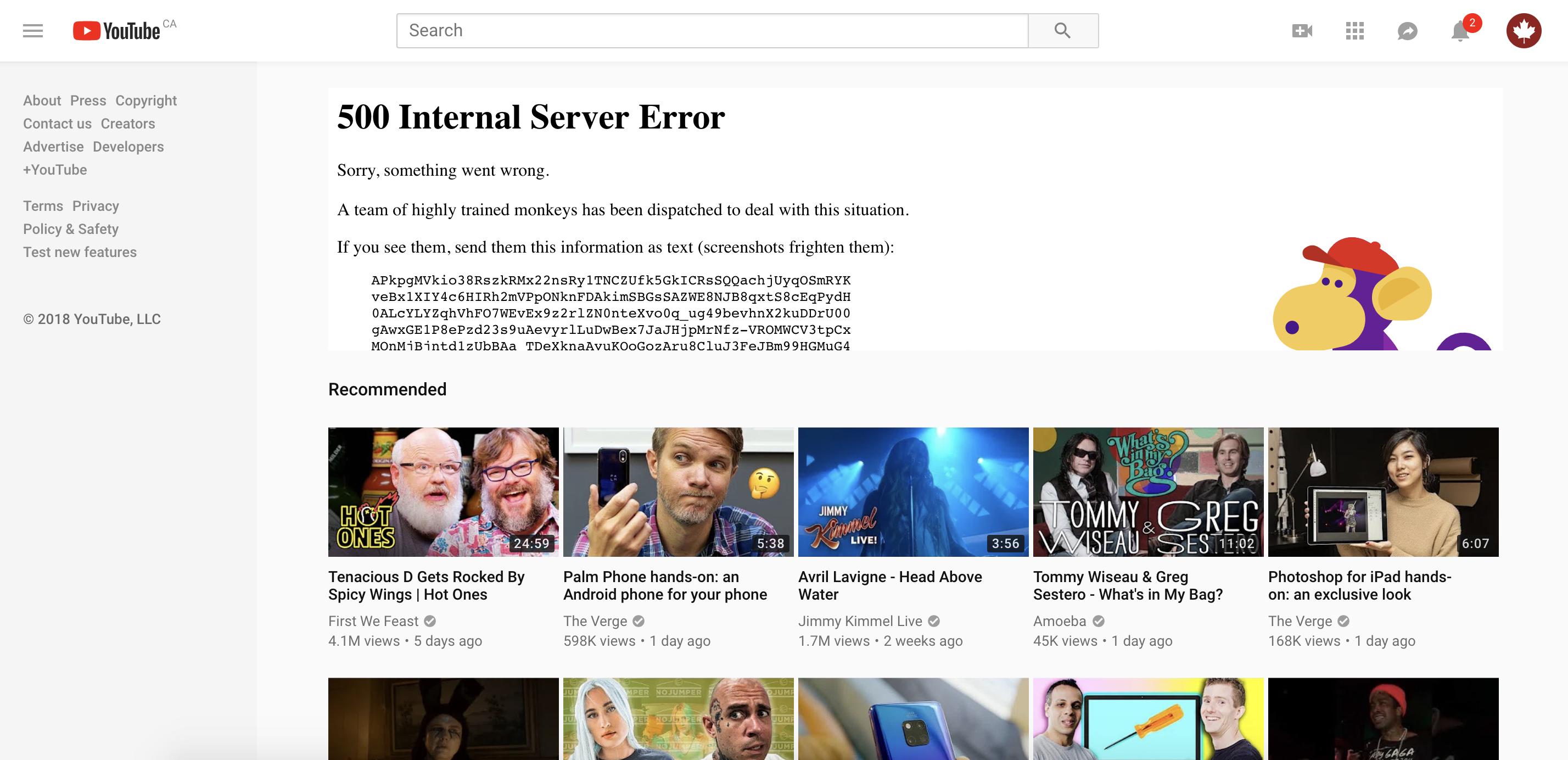 YouTube down screenshot