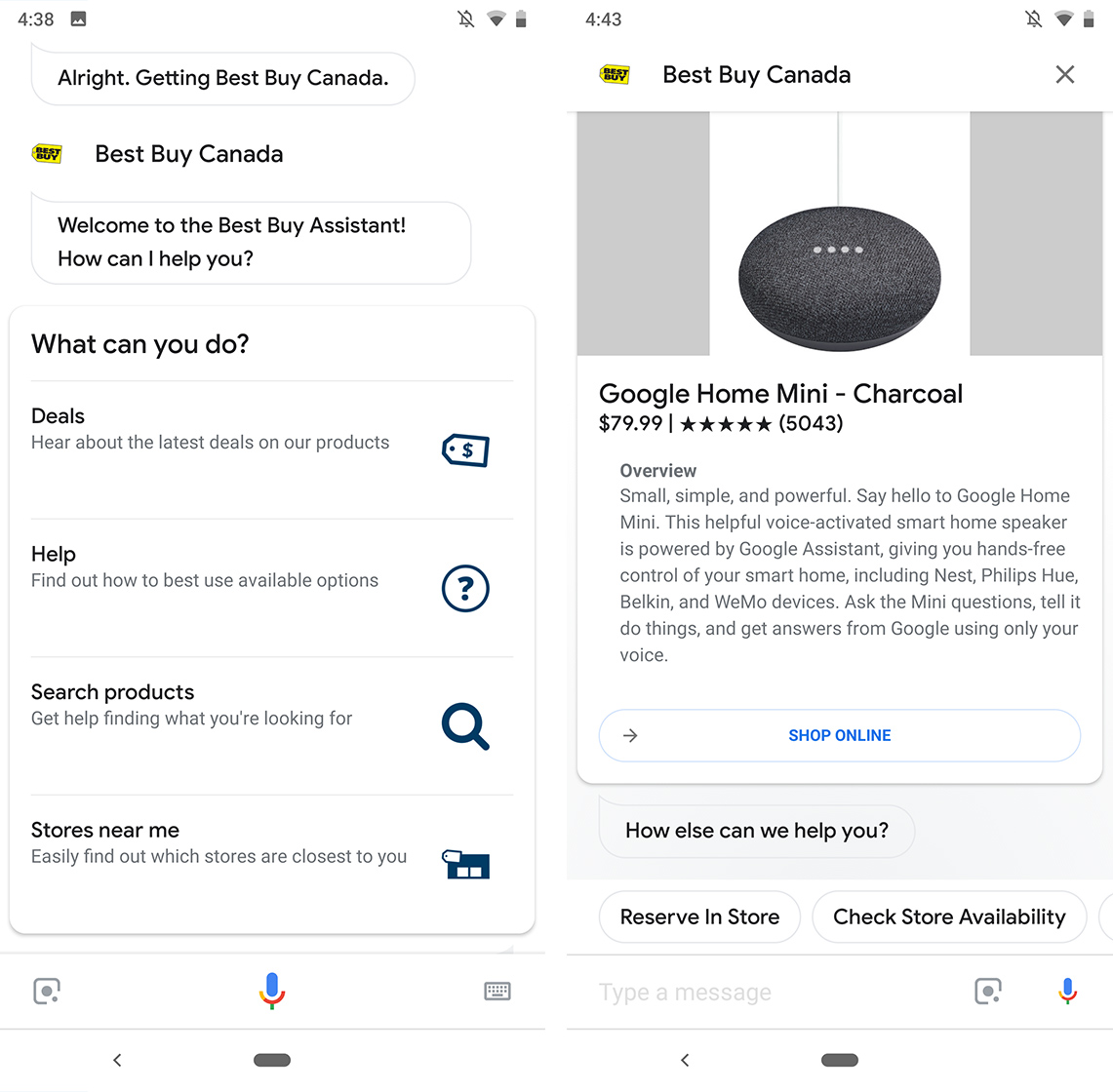 Reserving an item for pick-up in Google Assistant