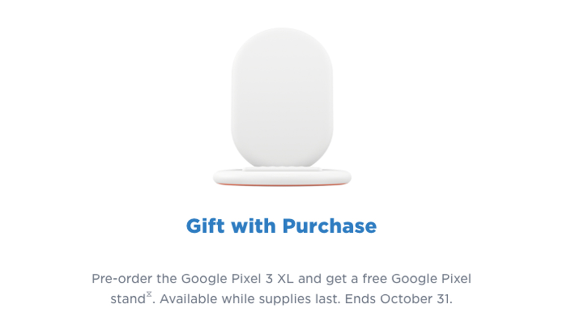 Google Pixel stand gift with purchase
