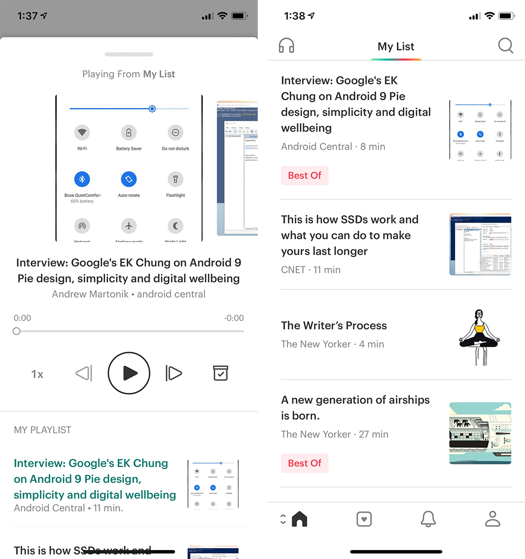 Pocket listen and My List feature