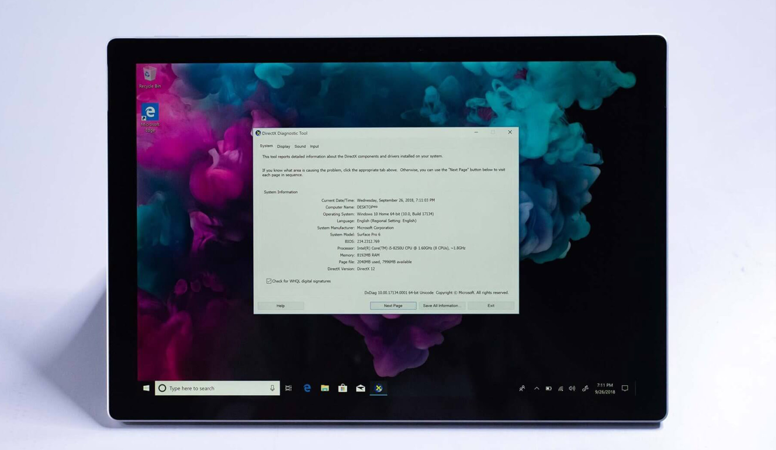 Surface Pro 6 screen