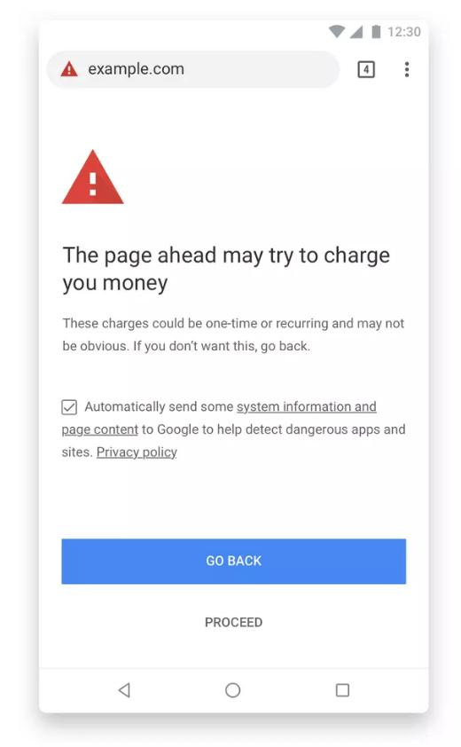 Google Chrome billing