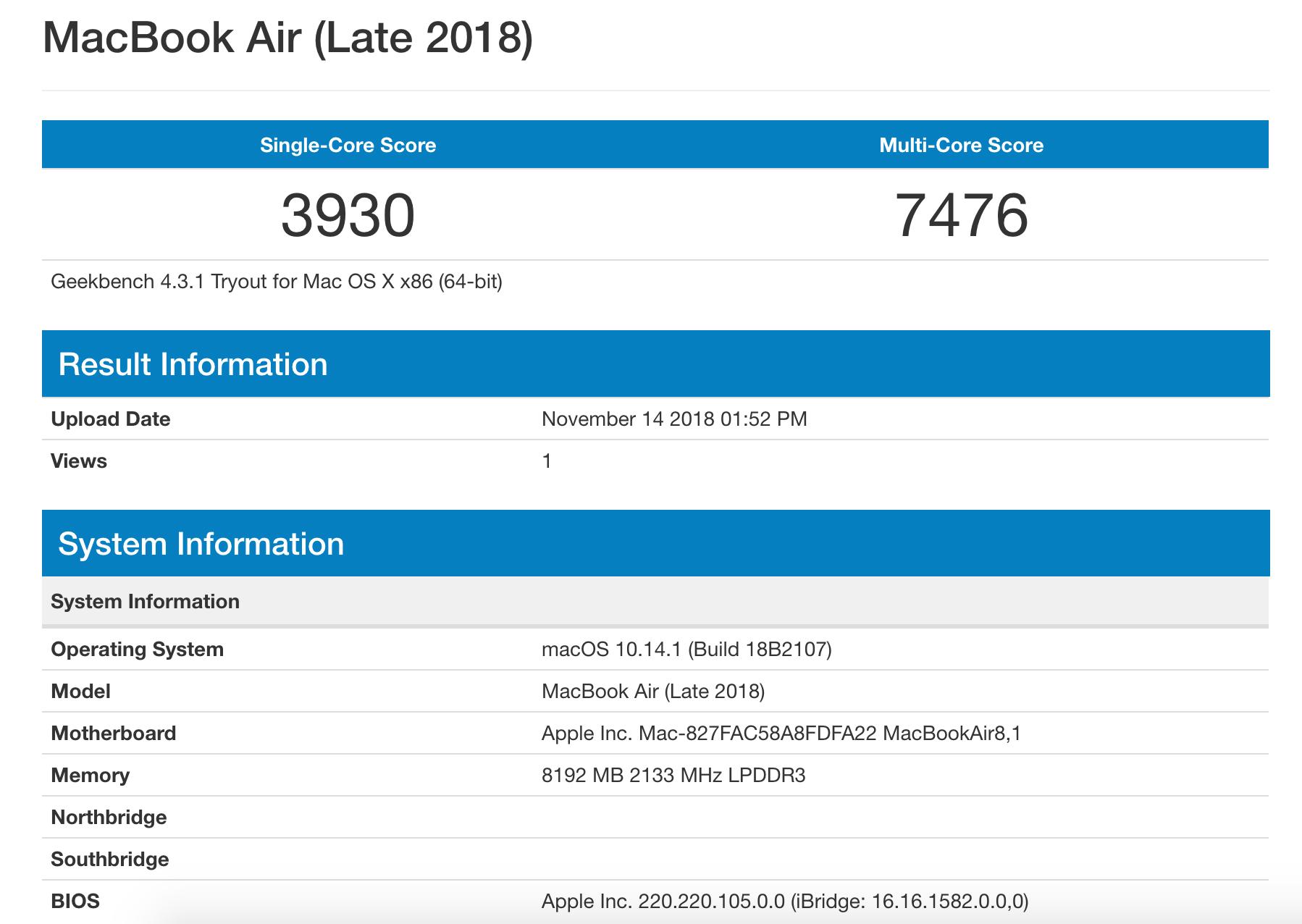 MacBook Air 2018 Geekbench score