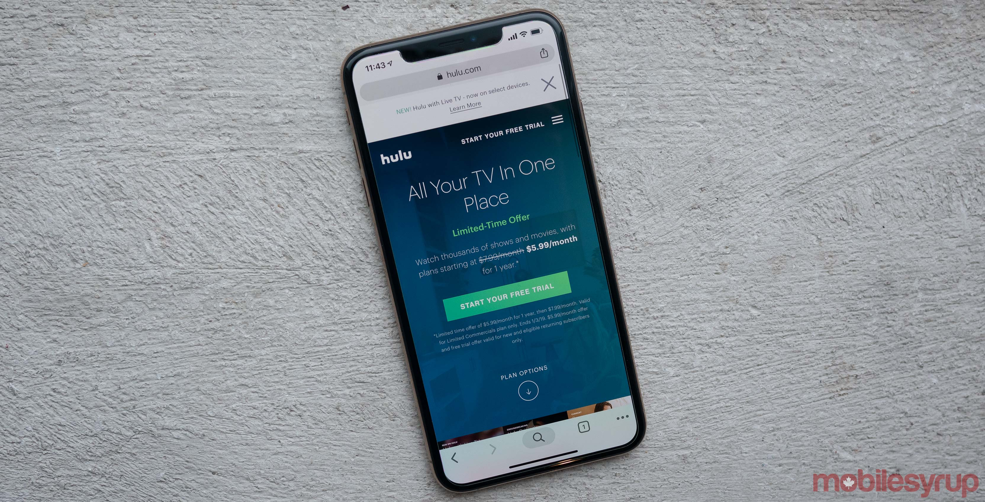 Hulu on the iPhone XS