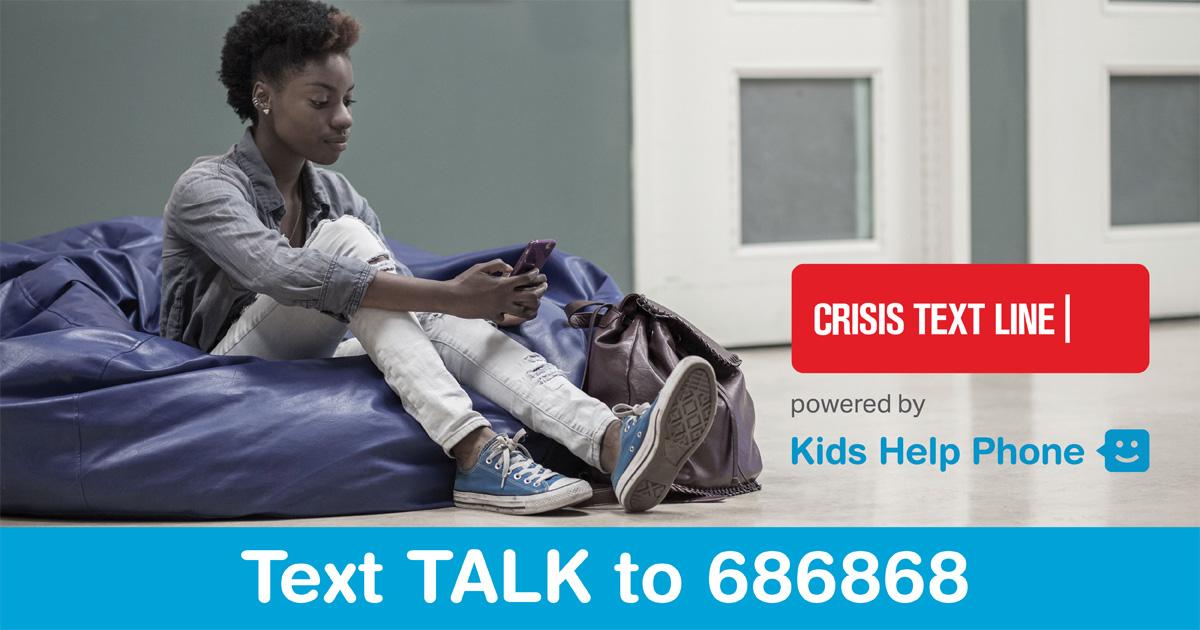 Crisis Text Line Kids Help Phone