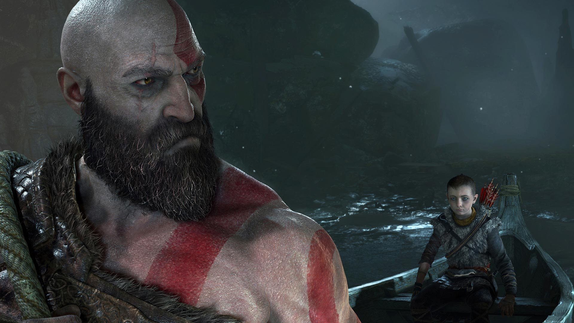 God of War Kratos and Atreus in boat