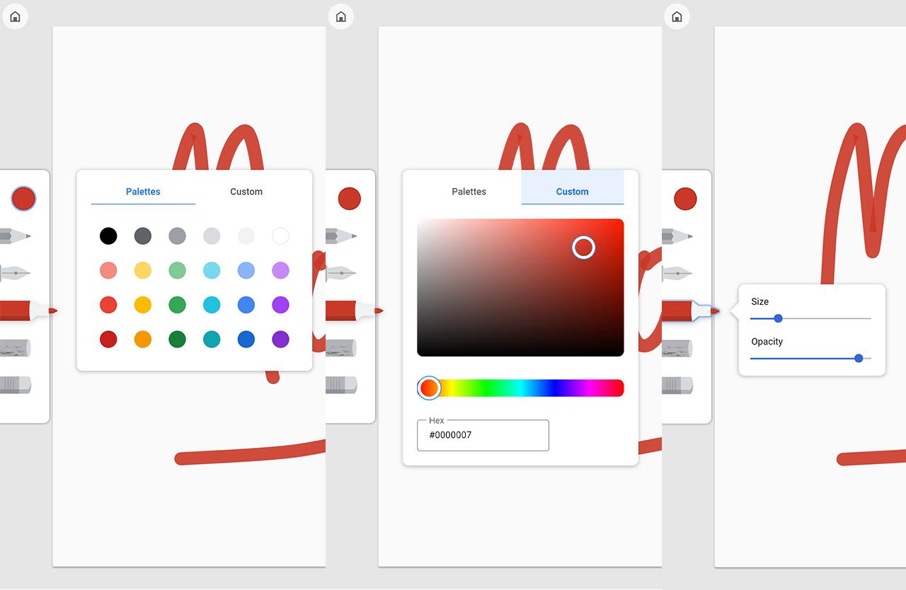 Google Canvas drawing tools