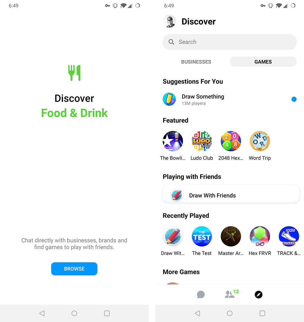 Messenger redesign Discover page