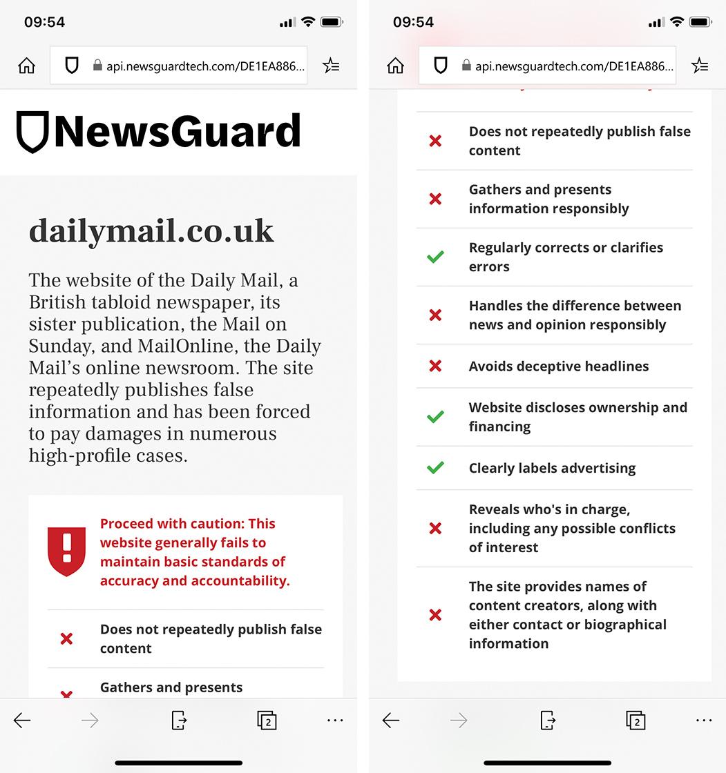 NewsGuard assessment