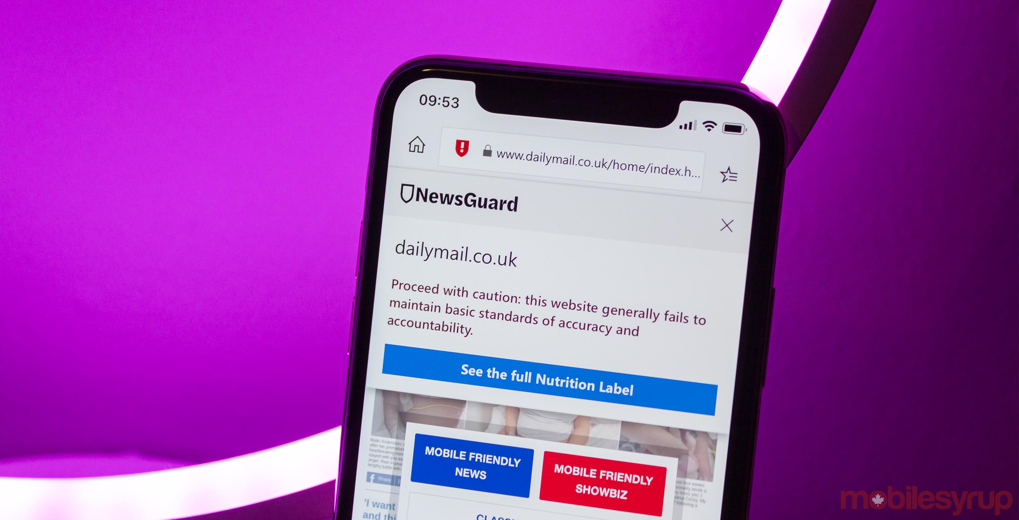 NewsGuard in Edge for mobile