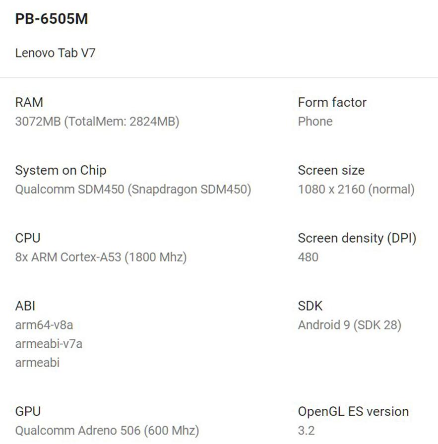 Lenovo Tab V7 specs