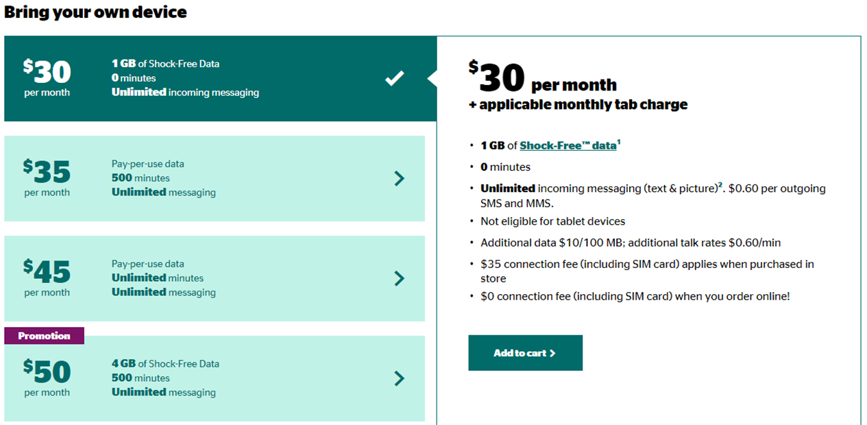 Koodo low-cost data-only plan