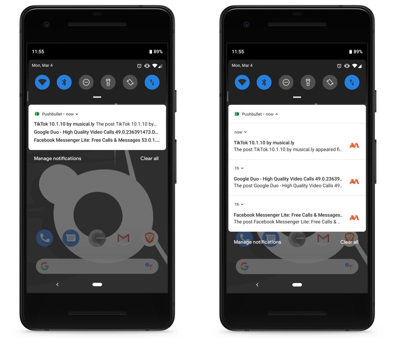 Push Bullet's new bundled notifications