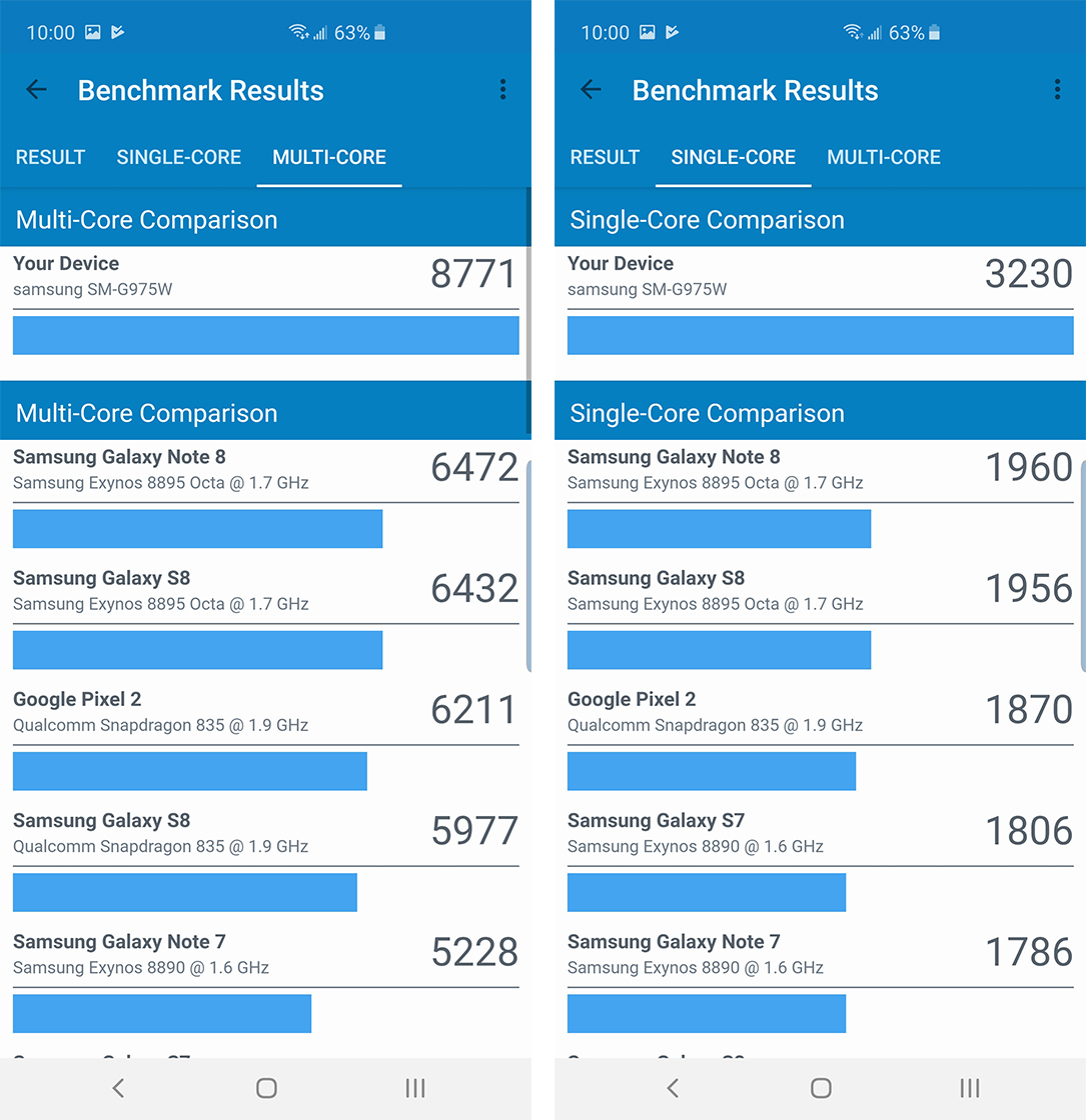 S10+ Geekbench benchmarks
