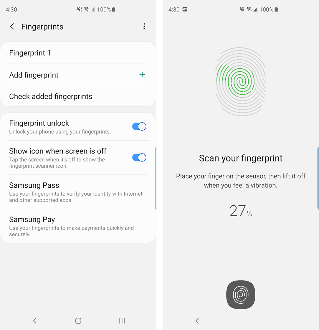 Samsung Galaxy S10 fingerprint sensor