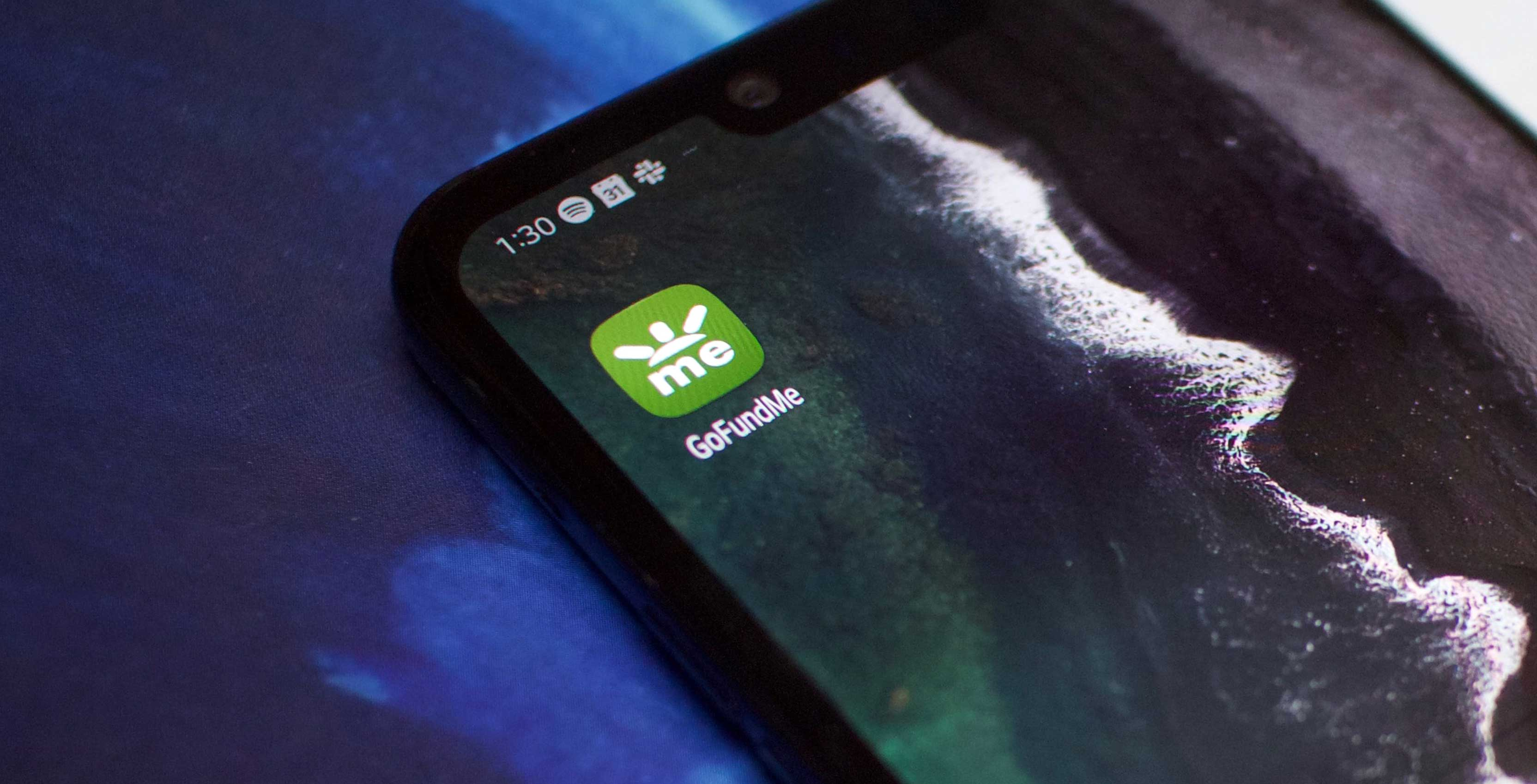 phone with GoFundMe app