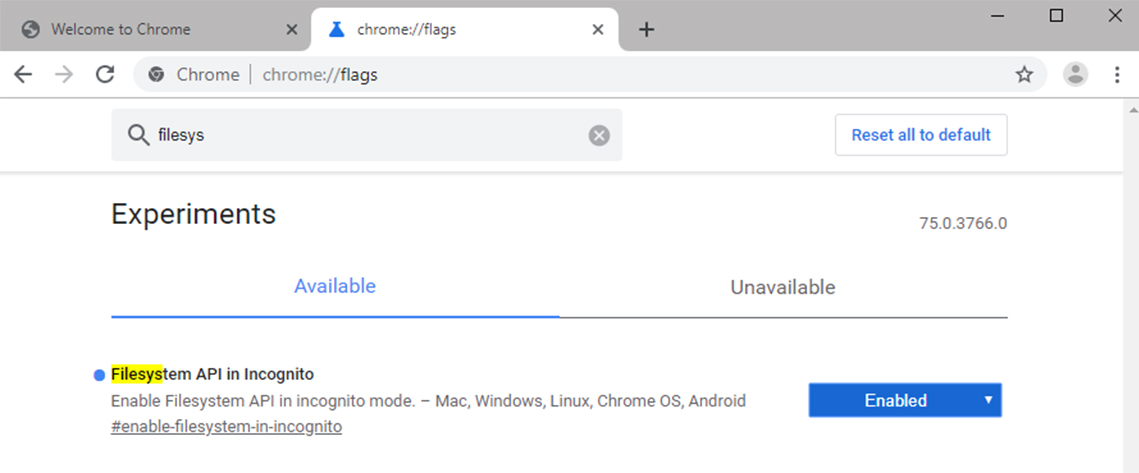 Google Chrome FileSystem API in Incognito mode