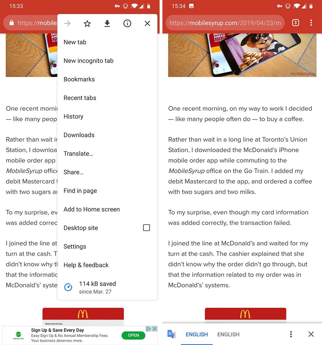 Google Chrome translate feature