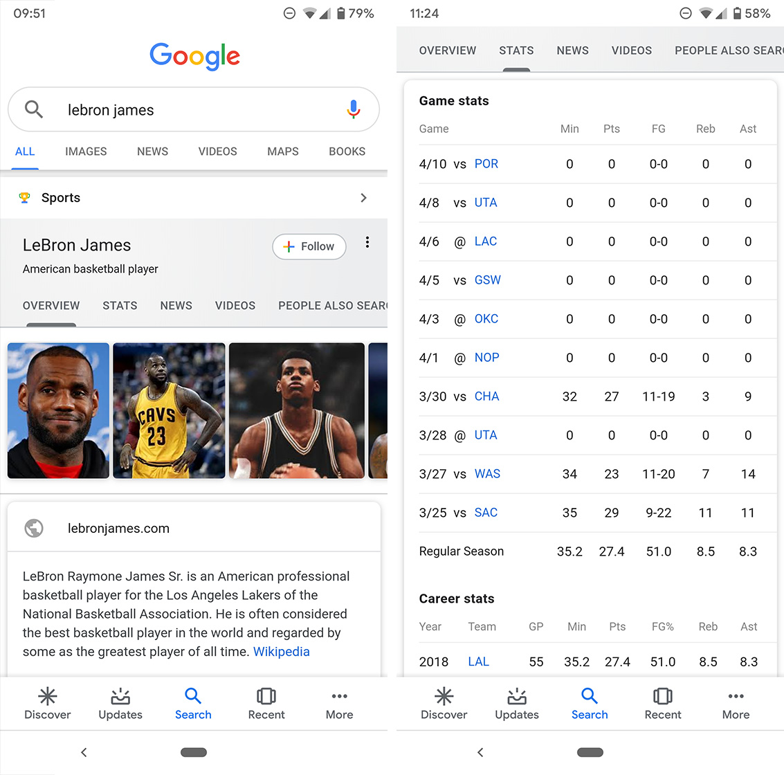 Google search athlete card