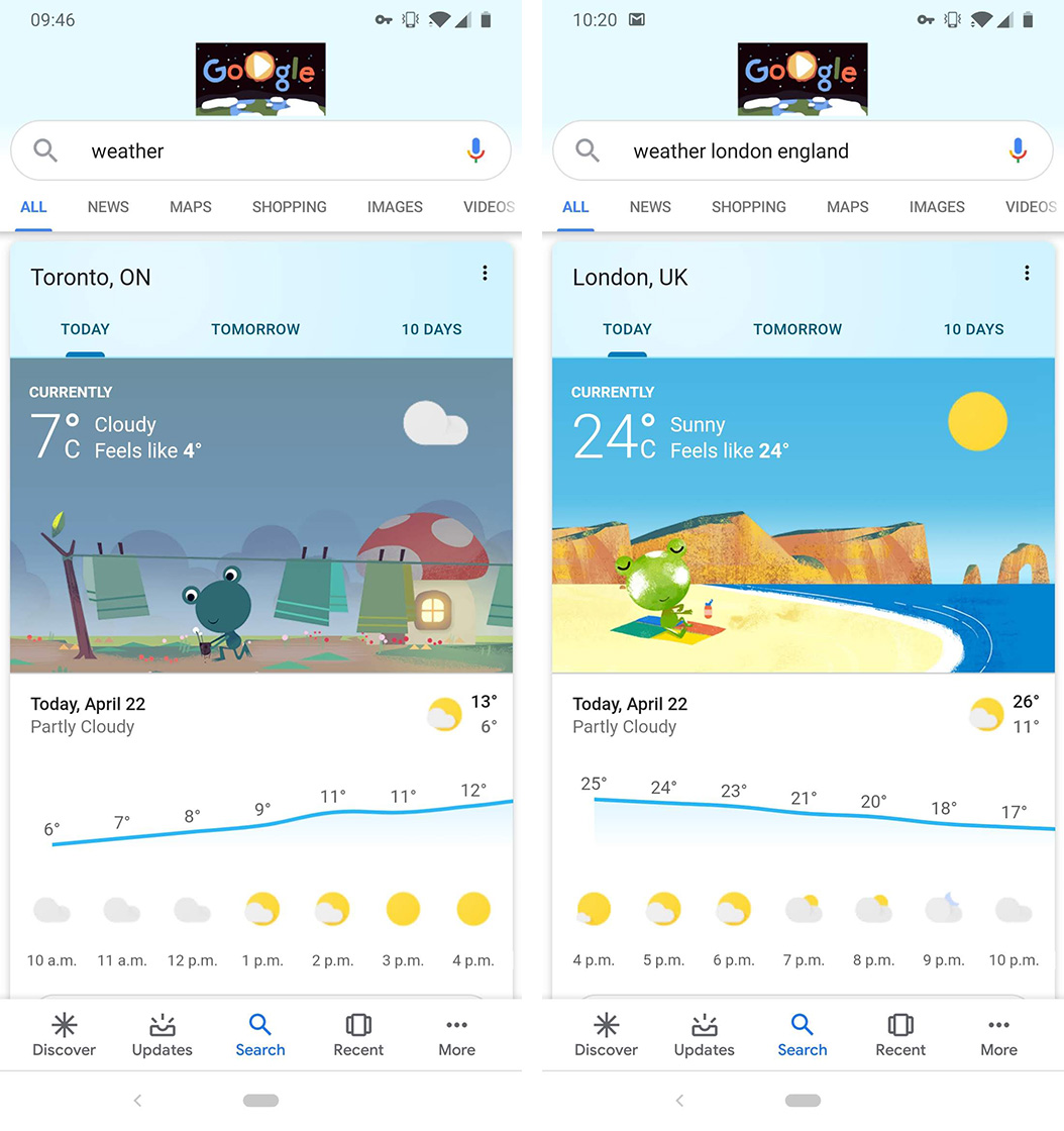 Google search weather card