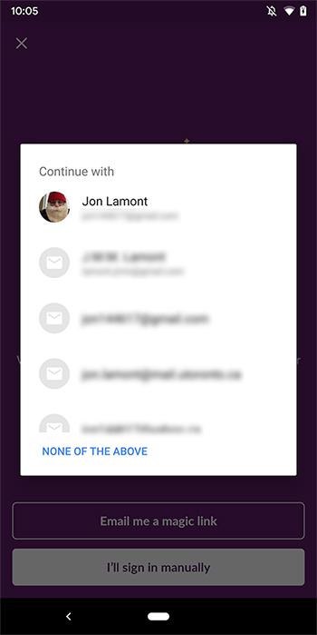 Slack using Android Smart Lock