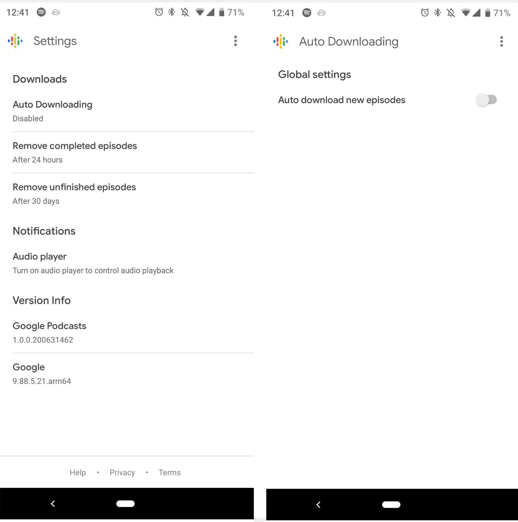 Google Podcasts auto download update
