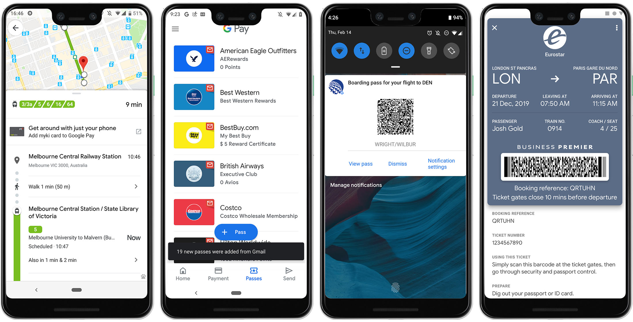 New Google Pay Passes features
