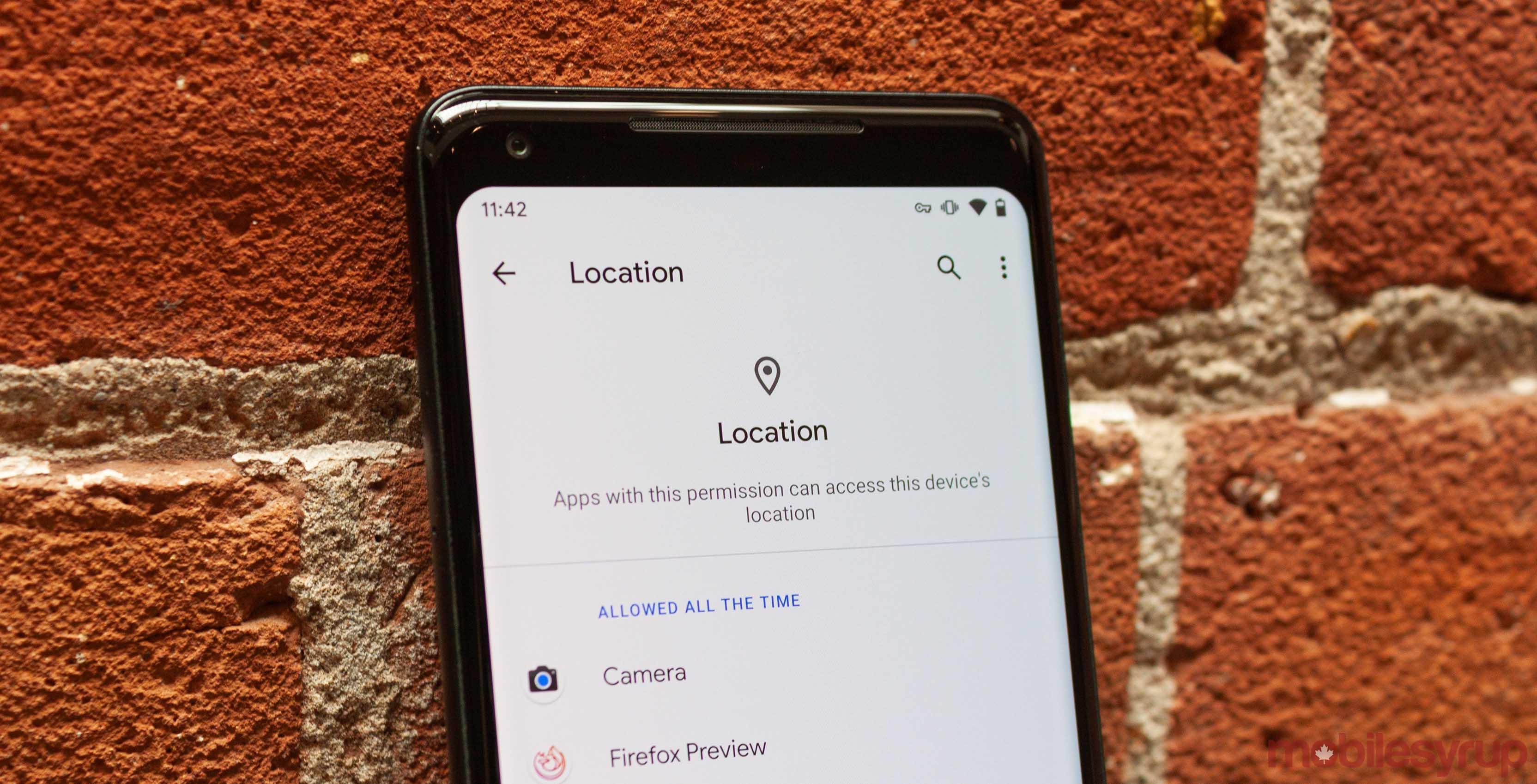 Android Q location menu