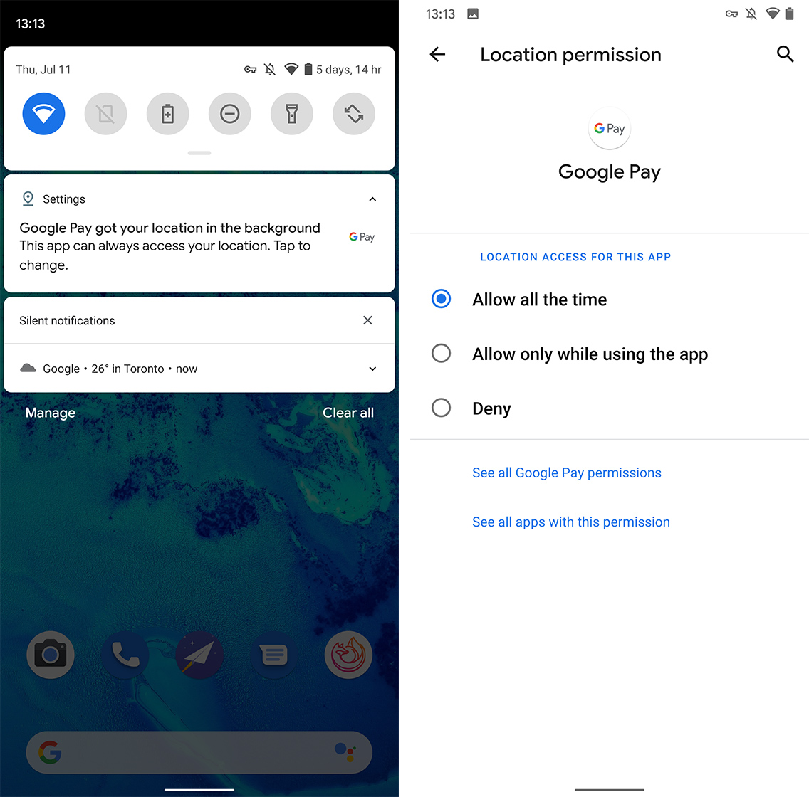 Android Q location use notification