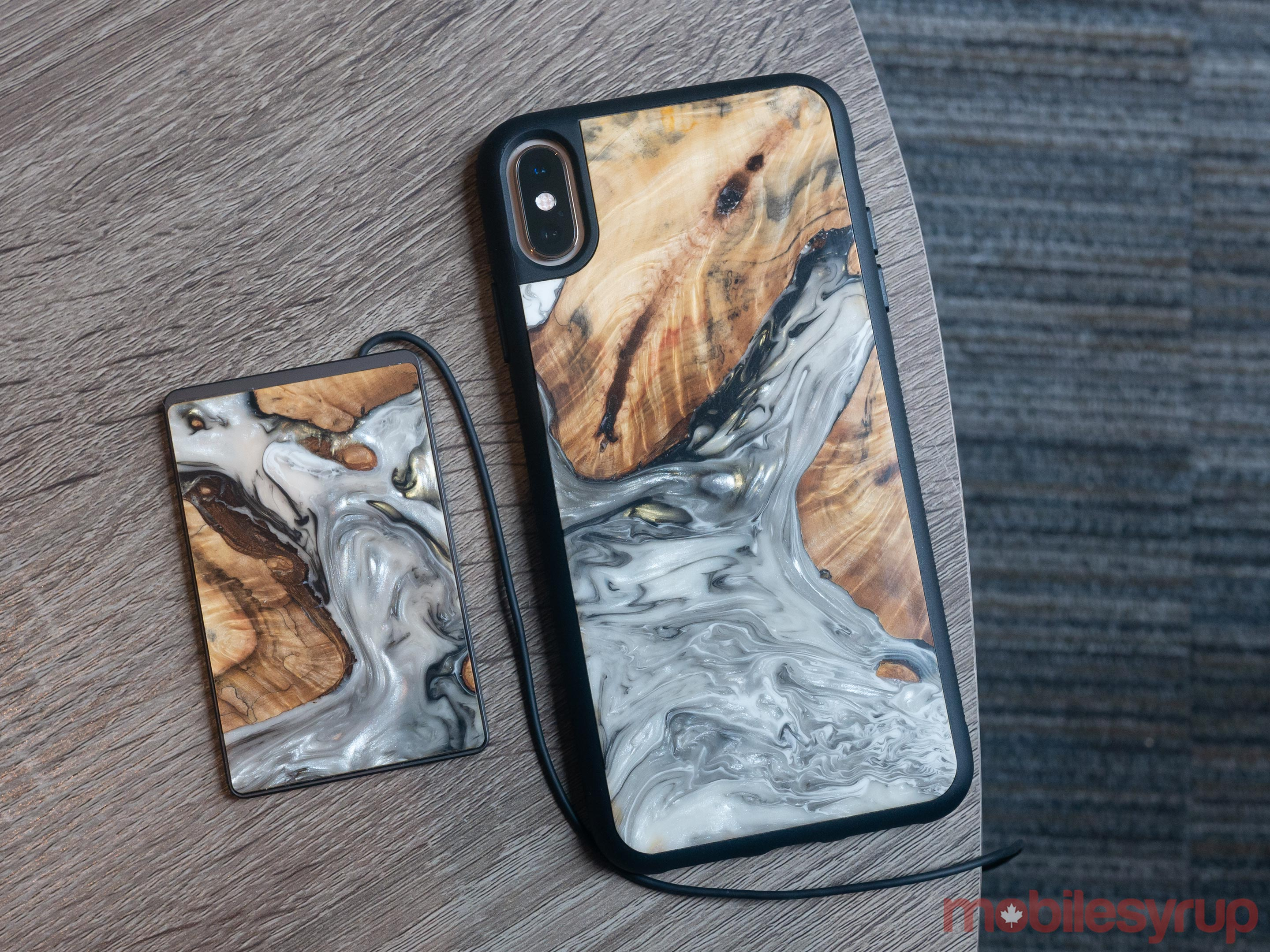 Carved smartphone case with wireless charger
