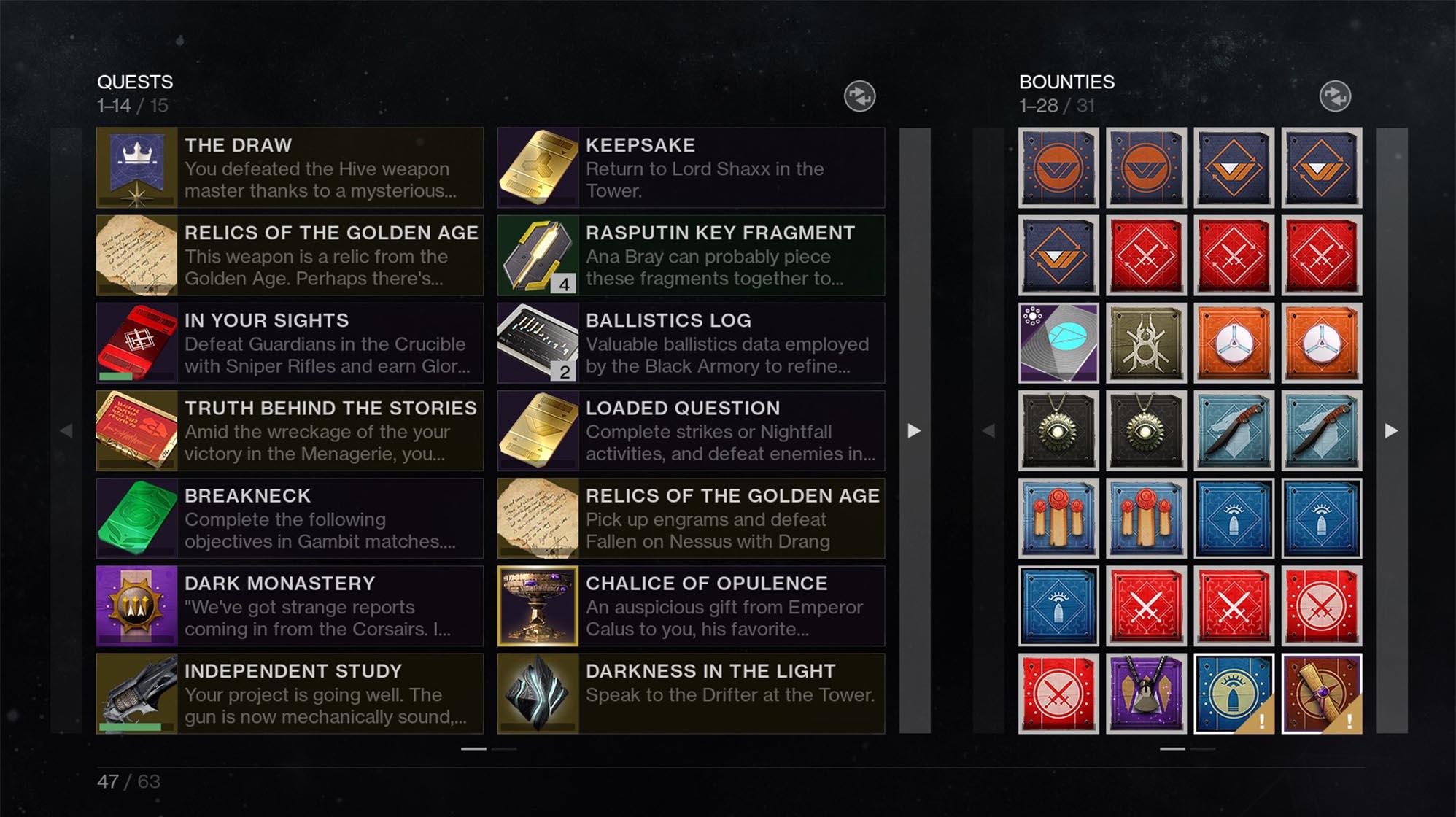 Destiny 2 new Pursuits menu