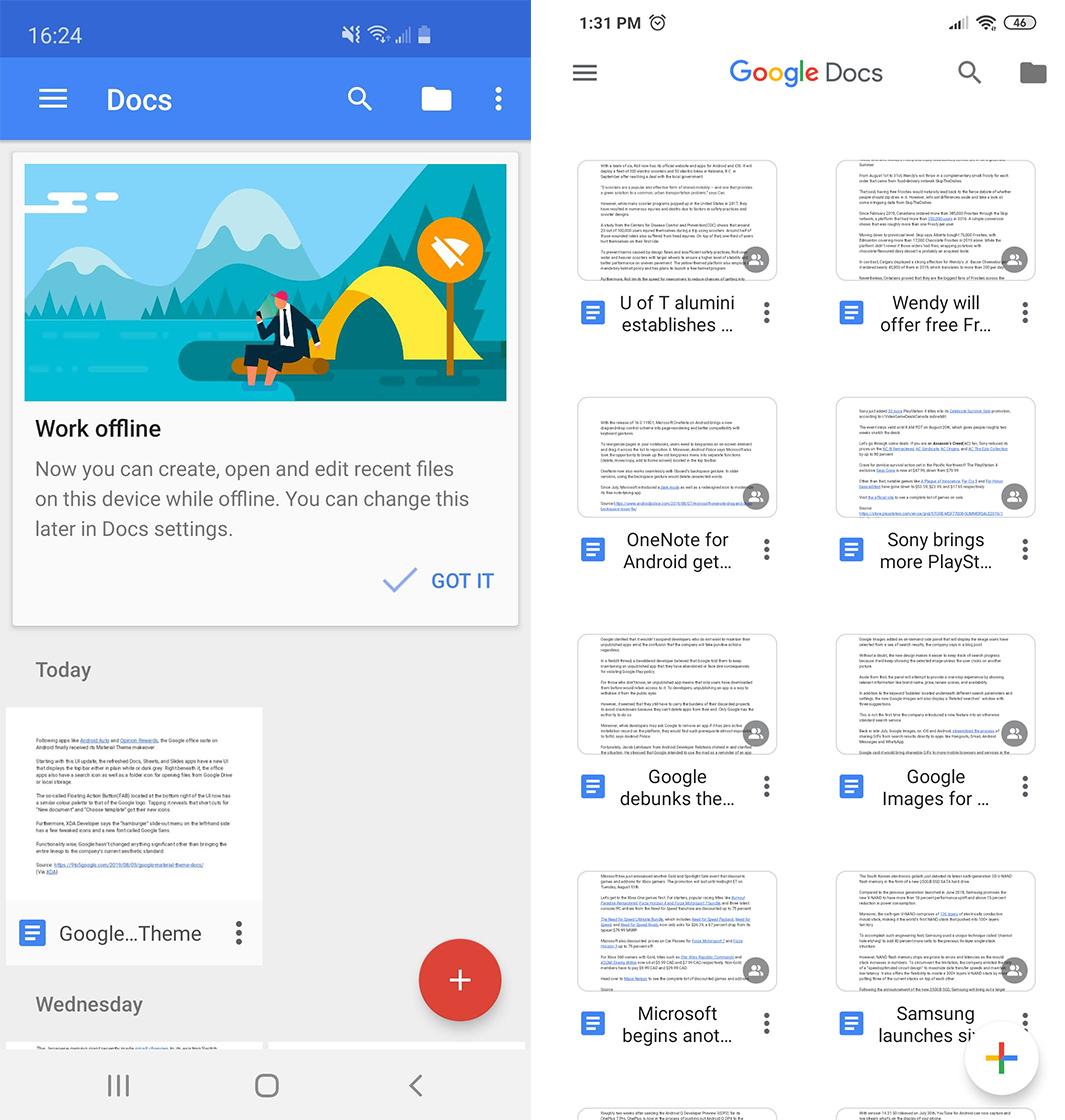Google Docs redesign